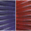 Red and blue corrugated iron background set — Stock Photo