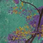 Yellow blossom with purple on aquamarine — Stock Photo