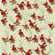Red butterfly flower print on ribbed handmade paper — Stock Photo