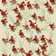 Stock Photo: Red butterfly flower print on ribbed handmade paper