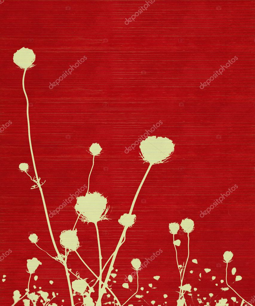 Long-stemmed meadow flower silhouette on red background — Stock Photo #3698901
