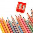 Penicils and sharpener — Stock Photo