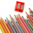 Pencils and sharpener — Foto de Stock