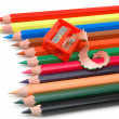 Sharpener and pencils — Stock Photo