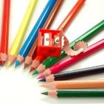 Sharpener and pencils — Stock Photo