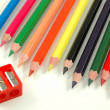 Sharpener and crayons — Stock Photo
