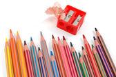 Tužky a ořezávátko — Stock fotografie