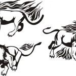 Flaming big cats. — Stock Vector