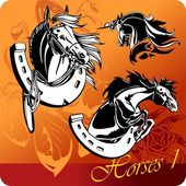 Horses. — Stock Vector