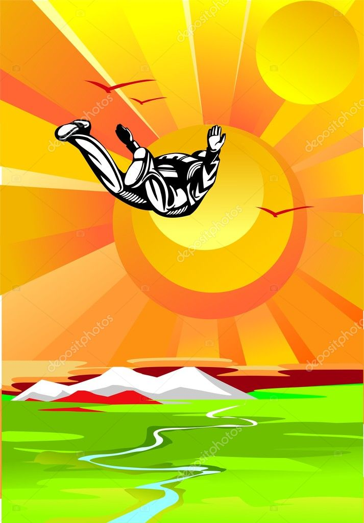 Levitating in vozduuhe man in a parachute. — Stock Vector #3323997