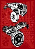 越野车和自行车. — 图库矢量图片