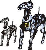 Cyber cavalos. — Vetor de Stock
