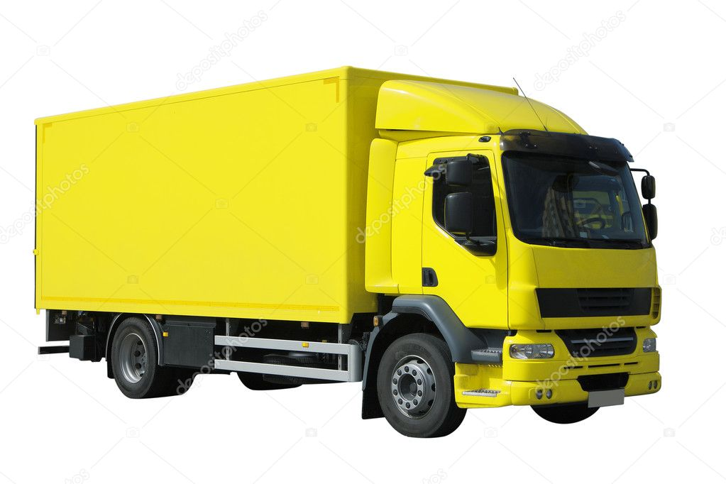 Yellow isolated European truck on white backgraund — Stock Photo #3239511