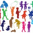 Set of  silhouettes of  children and mot - Stock Vector