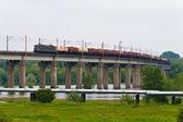 Na ponte de trem — Fotografia Stock