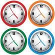 Multi-coloured wall clock — Stock Vector