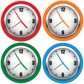 Multi-coloured wall clock — Stockvector