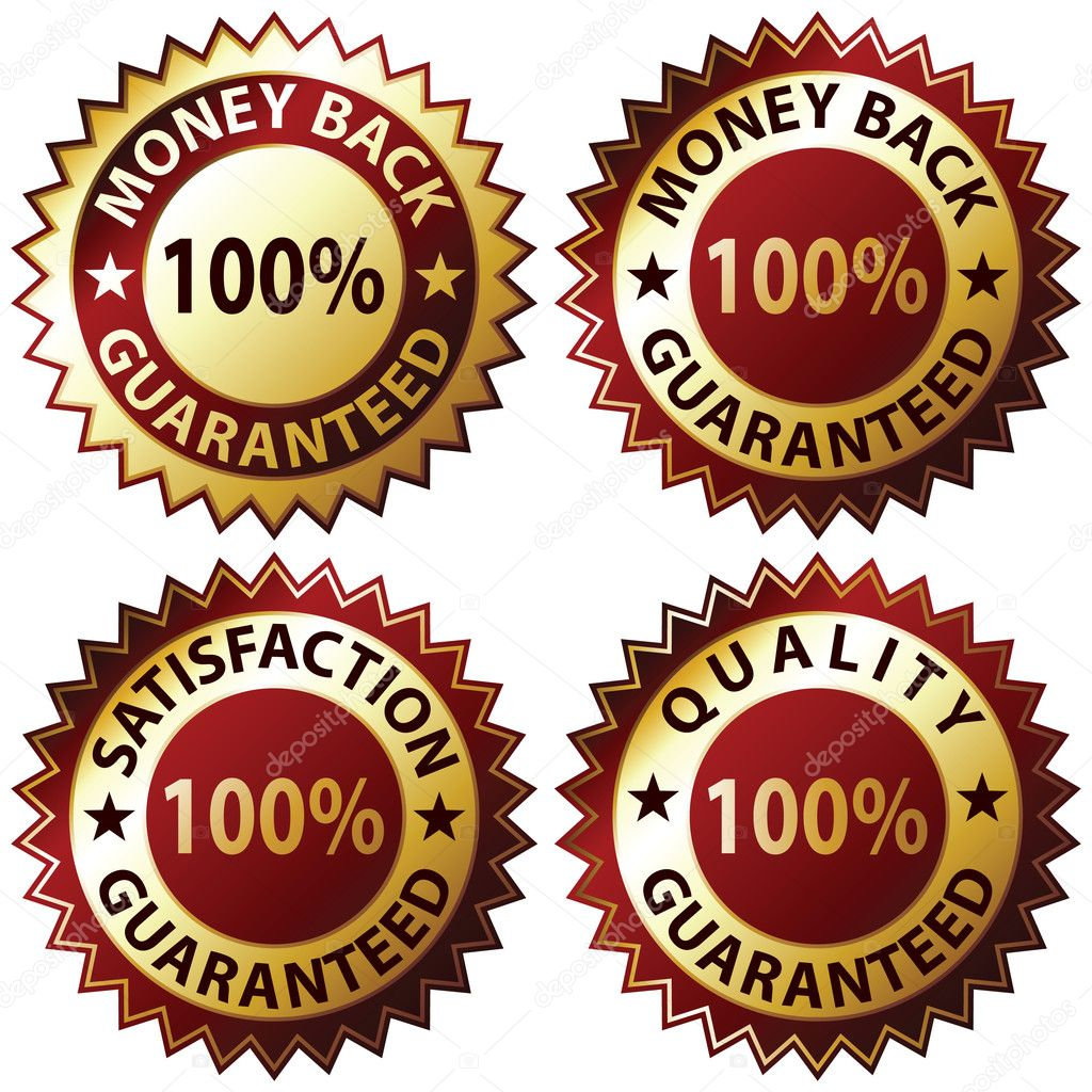 Money Back Guaranteed and 100% Satisfaction Guaranteed Sign Set  Stock Vector #3056015