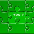 Puzzle with a missing piece - you — Stock Photo