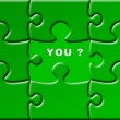 Puzzle with a missing piece - you — 图库照片