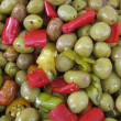 Olives and hot peppers — Stock Photo