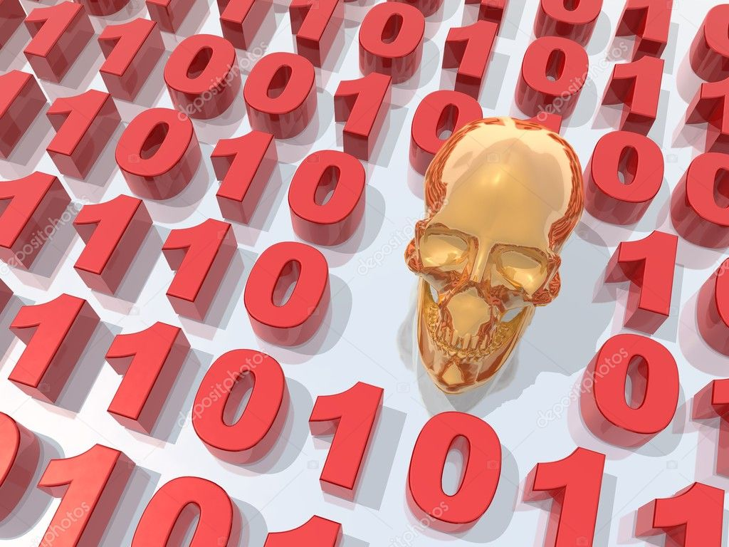 A 3d rendering to illustrate a malware or a virus in a binary code — Stock Photo #3344242