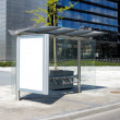 Foto Stock: Blank Bus Stop Billboard