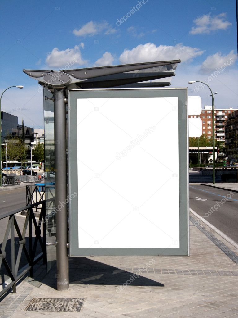 Blank Bus Stop Billboard in city center — Stock Photo #3184124