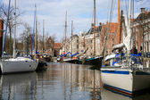 Yachts in Groningen. Netherlands. — Stock Photo