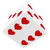 White dice in hearts — Stock Photo