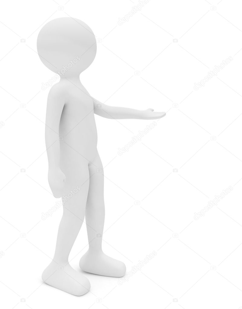 3d render series: woman standing with hand outstretched — Foto Stock #2777733