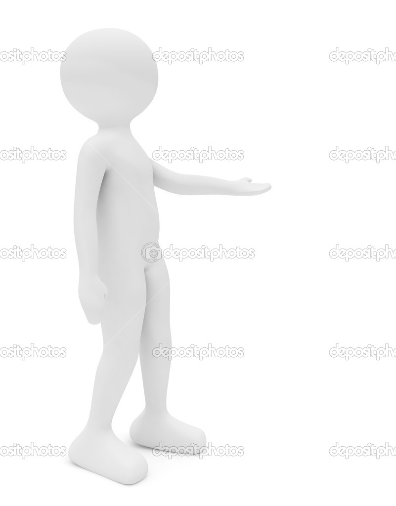 3d render series: woman standing with hand outstretched  Stockfoto #2777733