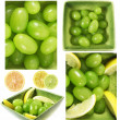 Wet grapes fruits and lemons citrus mix — Stock Photo