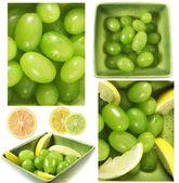 Wet grapes fruits and lemons citrus mix — Stock Photo