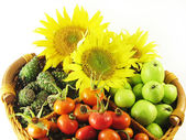 Fruits in basket summer — Stock Photo