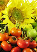 Fruits in basket summer with sunflower — Stock Photo