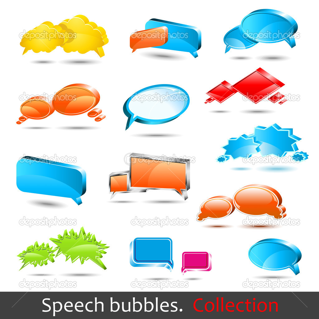 Speech bubbles. Set of hight quality vector 3d element. — Stock Vector #3053156