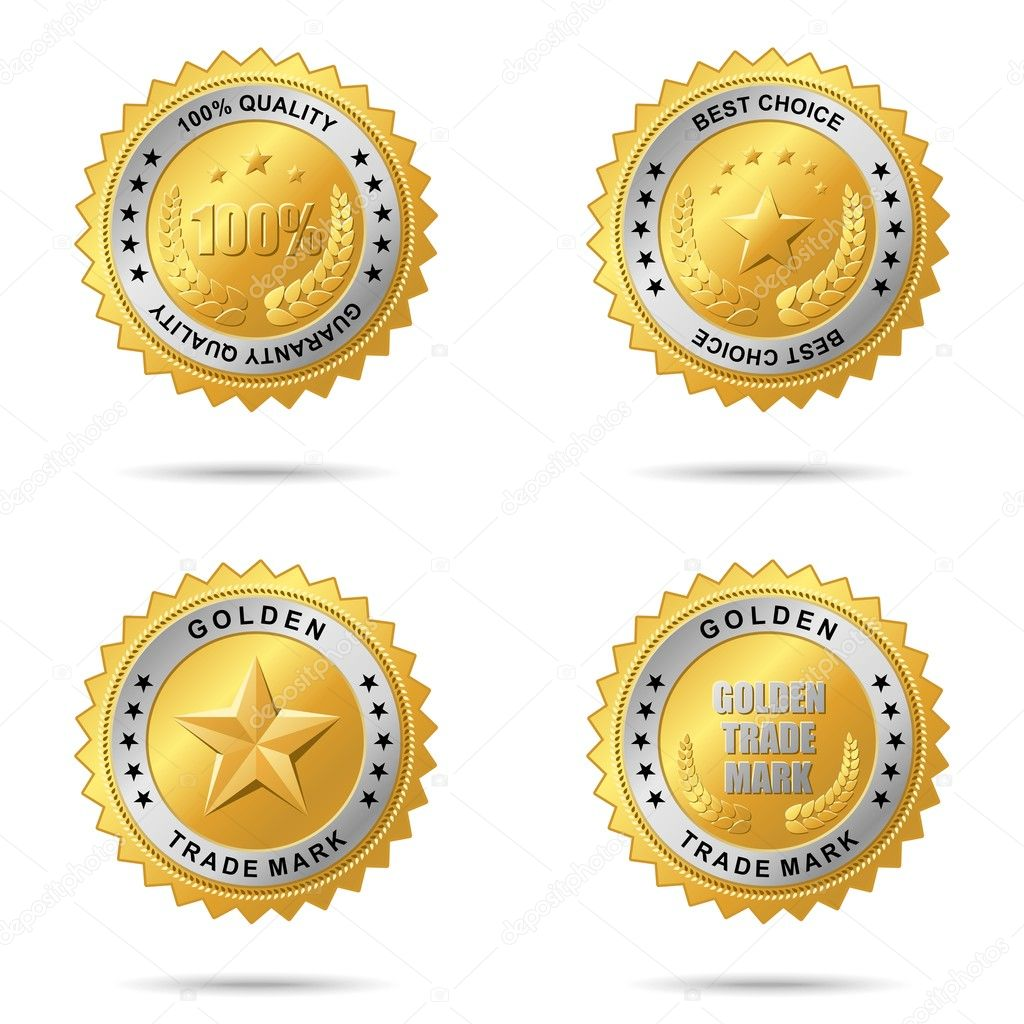 Vector golden badge for your business artwork. — Stock Vector #3536488