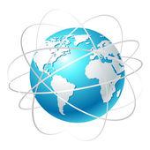 Globus mit umlaufbahnen — Stockvektor