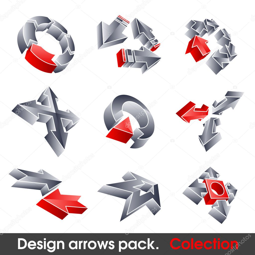 Vector arrows. Design elements. 3D symbol for your artwork. — Stock Vector #3922953
