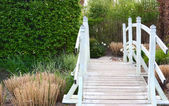 Footbridge in the garden — Stock Photo