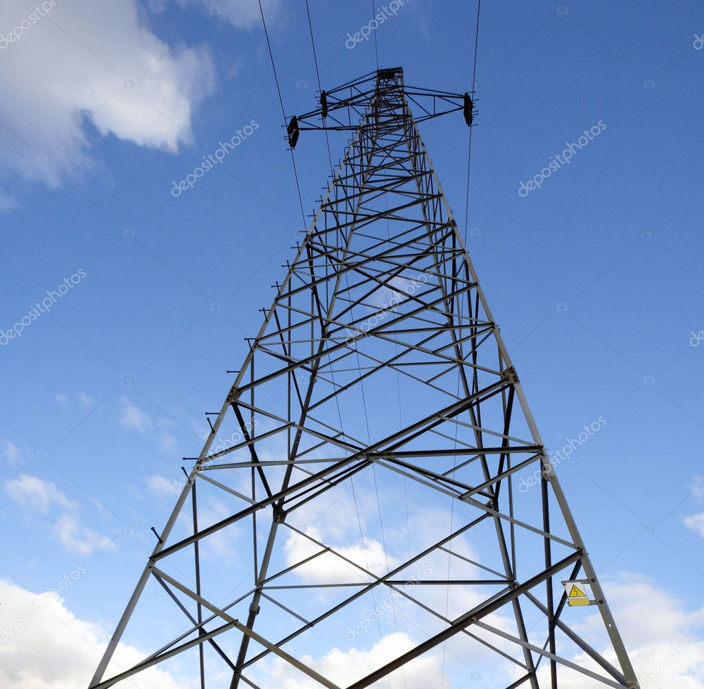 Electrical Mast Support: Electrical Power Mast In Front Perspecti