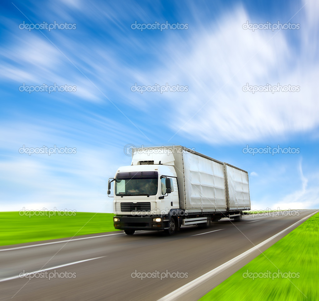 White truck on the road — Stock Photo #2841446