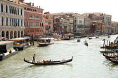 Gondolas floating on the canals of Veni — Stock Photo