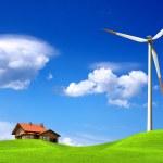 New house and wind turbine — Stock Photo