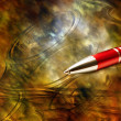 Antique background and contemporary pen — Lizenzfreies Foto