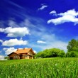 Stockfoto: New house imagination on green meadow