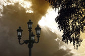 Street lamp at sunset — Stok fotoğraf
