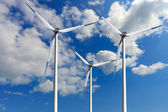 Wind turbines, global ecology — Stock Photo