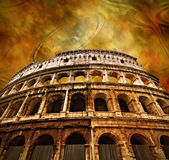 Colosseum on antique background — Stock Photo